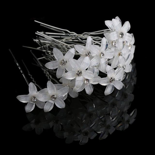 20 unid/set las mujeres de diamantes de imitación de cristal Flor de pelo Clips boda pasadores horquillas de pelo accesorios