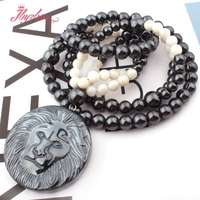 8mm Round No Magnetic Hematite Natural Stone Beads For Tribal Women Fashion Jewellery Lion Pendant Necklace