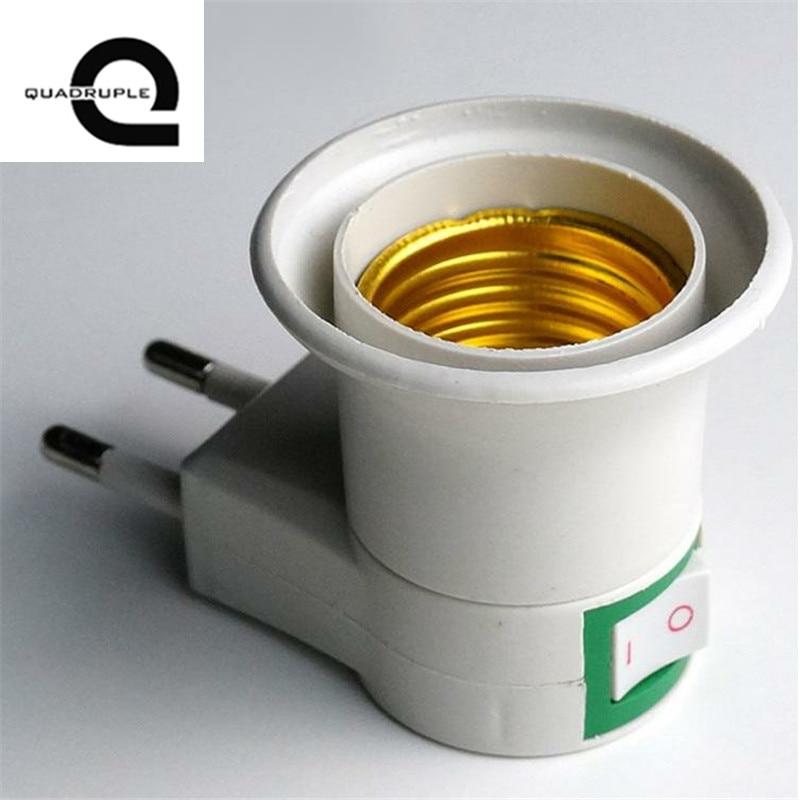 Quadruple High Quality E27 Lamp Base EU Plug Lamp Holder Converter Screw Mouth Type Light Holder Mobile Round Foot Lamp Bases 9011 type quadruple precision potentiometers b100k