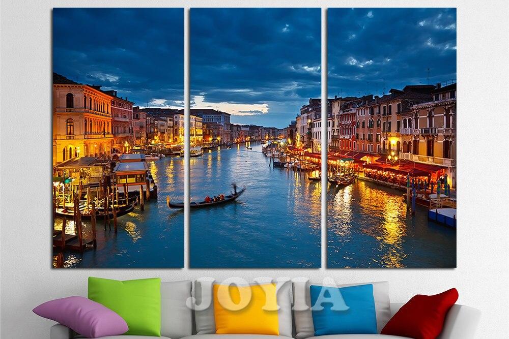 Italy Wall Art aliexpress : buy grand canal night venice canvas wall art set