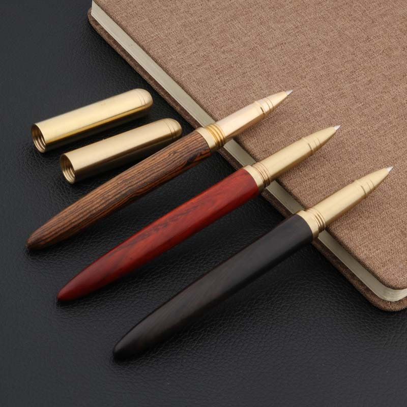 New Metal Red Sandalwood Ebony Chicken Wing Wood Luxurious Copper Gift Roller Ball Pen