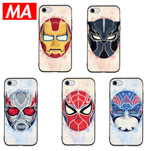 MA Marvel Peking Opera iron Man Phone Case For IPhone 7 8 Plus XS Max XR Cases For IPhone X 8 7 6 6S Plus 5 SE Soft TPU Cover