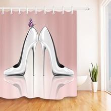 Cortina de ducha rosa de mariposa y tacón alto elegante Vintage tela de poliéster cortina de baño impermeable y 12 ganchos para bañera