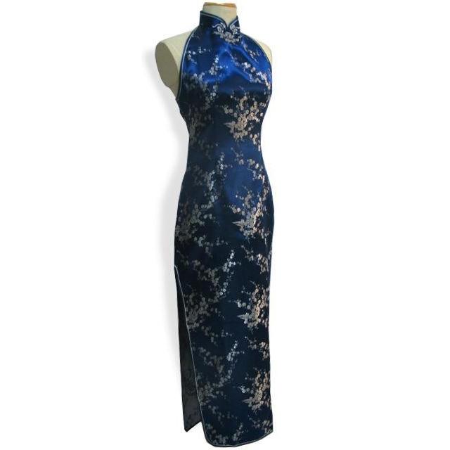 d0b18fd8b2a Navy Blue Women s Silk Satin Cheongsam Charming Prom Gown Dress Long  Backless Qipao Dropshipping Size S M L XL XXL XXXL S034-G