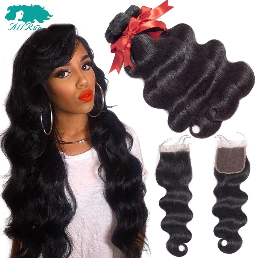 Allrun Brazilian Hair Weave 3/4 Bundles With Closure Body Wave 100% Human Hair Bundles With Closure NonRemy Human Hair Extension