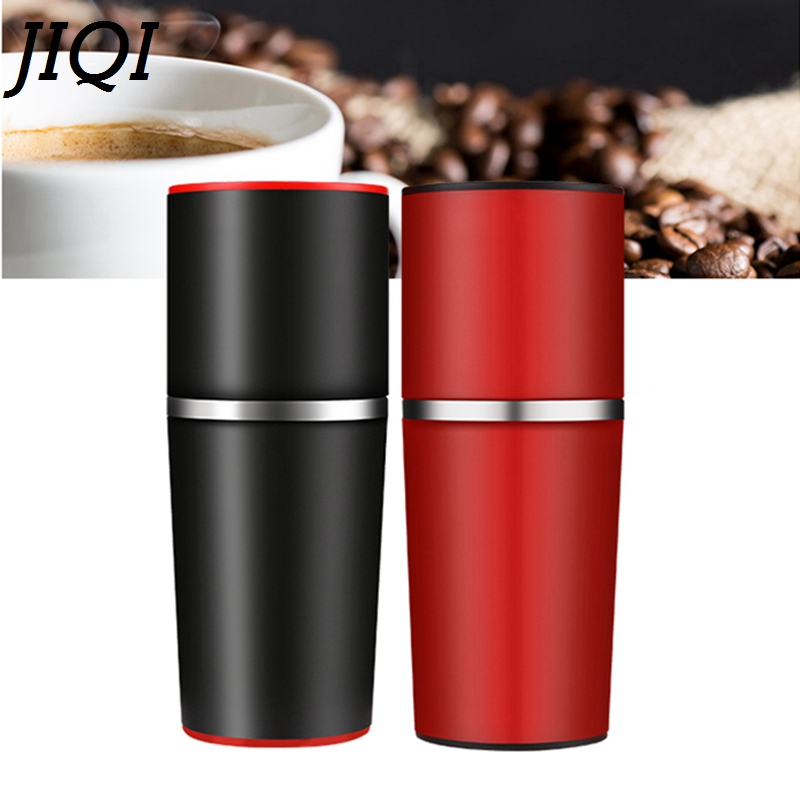 JIQI Manual Coffee Grinder Hand Pressure Portable Espresso Maker mini Outdoor Travel Black Coffee Pressing machine Bottle Pot mini sport coffee machine the hand powered portable espresso machine with high quality powder vesion