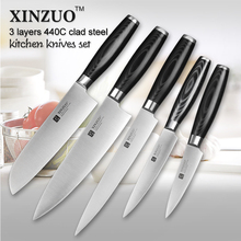 XINZUO 5 pcs kitchen knife set paring utility cleaver Chef knife 3 layers 440C clad steel