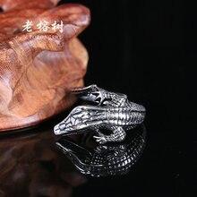 1pcs Man Punk Retro fashion personality Ring exaggerated ring Alligator lizard Domineering Titanium steel rings J007