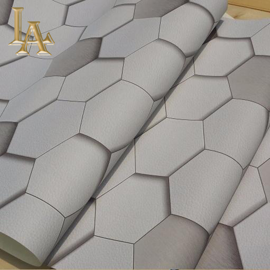 Modern Geometric Brick 3D Wallpaper Roll Vinyl Wallcovering PVC Luxury Grey Beige Wall paper Sofa TV Background Wall Decor W165 modern geometric wallpaper designs vinyl textured white silver grey wall paper roll for bedroom