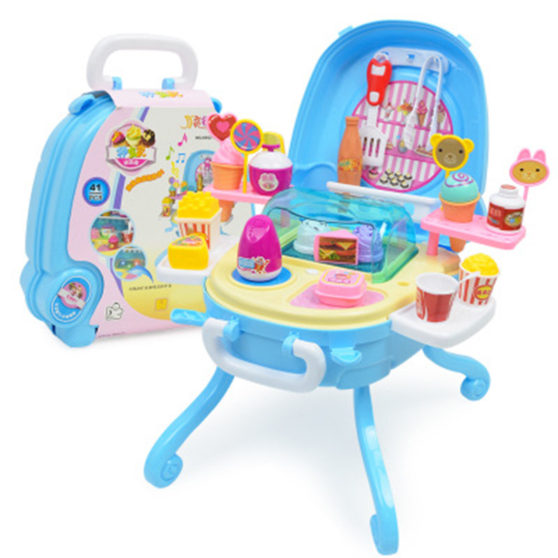 Ice Cream Toys Light Music Table Simulated Dessert Station Girls Children's House Toy Sets Interactive Gifts For Kids