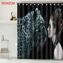 WONZOM Leopard Facing Girl Shower Curtain Fabric Bathroom Decor Decoration Cortina De Bano Polyester Bath Hooks Gift