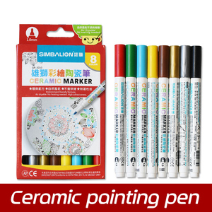 Image 1 - באיכות גבוהה 8 צבעים קרמיקה עט יד מצויר Creative DIY זכוכית ציור סמן עט משלוח אפוי ספל ציור צבע מברשת עט