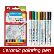 Wysokiej jakości 8 kolorów ceramiczny długopis ręcznie malowany kreatywny szklana do samodzielnego wykonania rysunek Marker bezpłatny pieczony kubek malowanie pędzel Pen