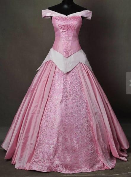 The sleeping beauty Aurora pricess pink Dress Cosplay Costume