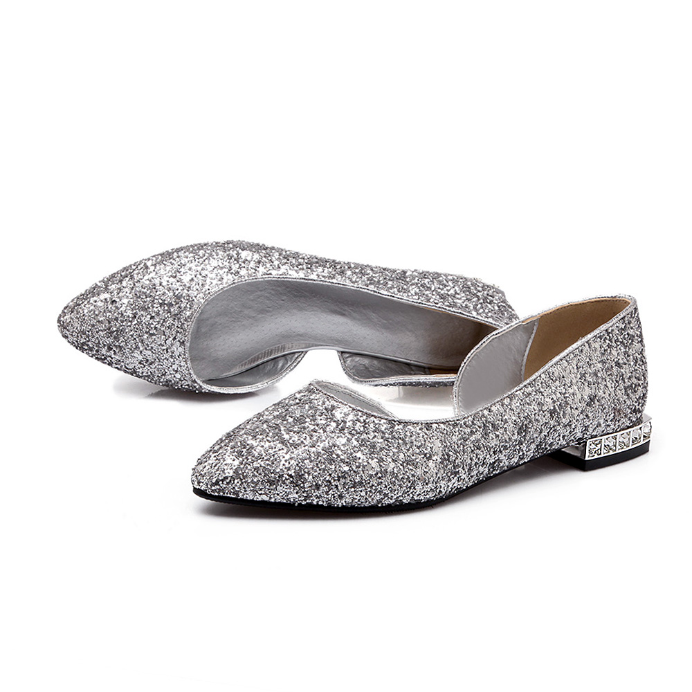 4ca72d82455 New fashion women shoes 2016 pointed toe women flat bridal shoes silver  gold flats women casual shoes driver ladies flat shoes-in Women s Flats  from Shoes ...