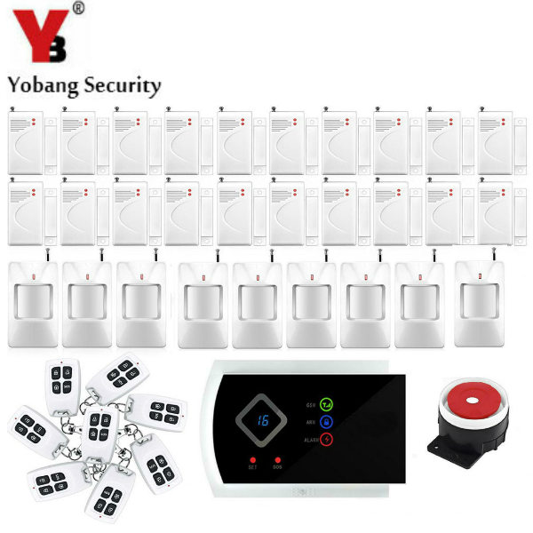 YobangSecurity Voice Prompt GSM Home Security Alarm System Android APP Wireless Wired Anti Theft Alarm System PIR Door Sensor yobangsecurity gsm wifi burglar alarm system security home android ios app control wired siren pir door alarm sensor