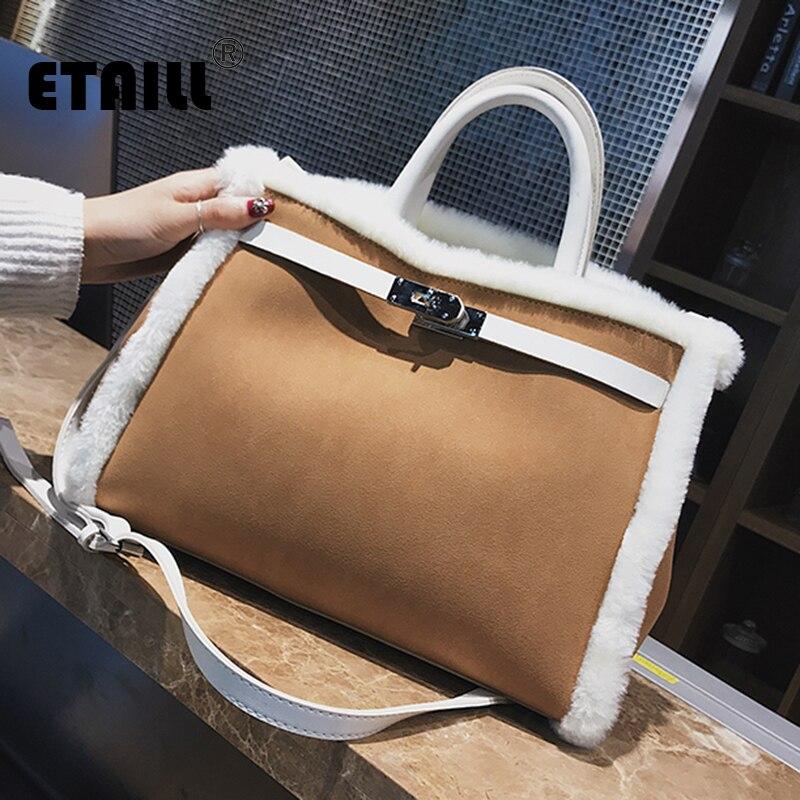 ETAILL White Faux Rabbit Fur Handbag Nubuck Suede Pu Leather Top Handle Shoulder Messenger Bag Black Grey Brown Large Tote Bags dark grey nubuck leather handbag
