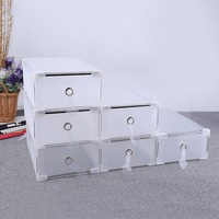 5PCS/set Eco Friendly Shoe Storage Box Case Plastic Transparent Storage Boxes Rectangle PP Shoe Organizer Thickened drawer Tool