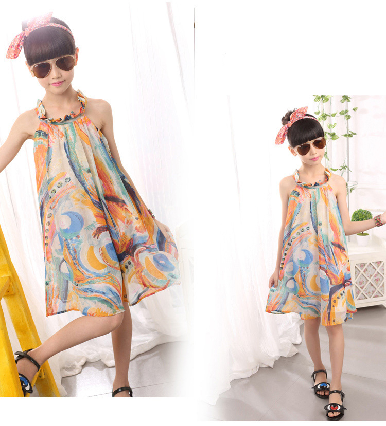 girls beach summer dress girl  flower print dresses casual sleeveless chiffon A -line loose dress children clothing new arrival (4).jpg