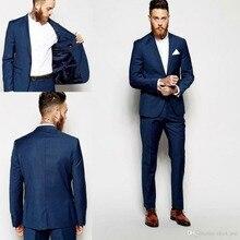 Groom Tuxedos Groomsmen Dark Blue Vent Slim Suits Best Men Suit 2 PCS Custom