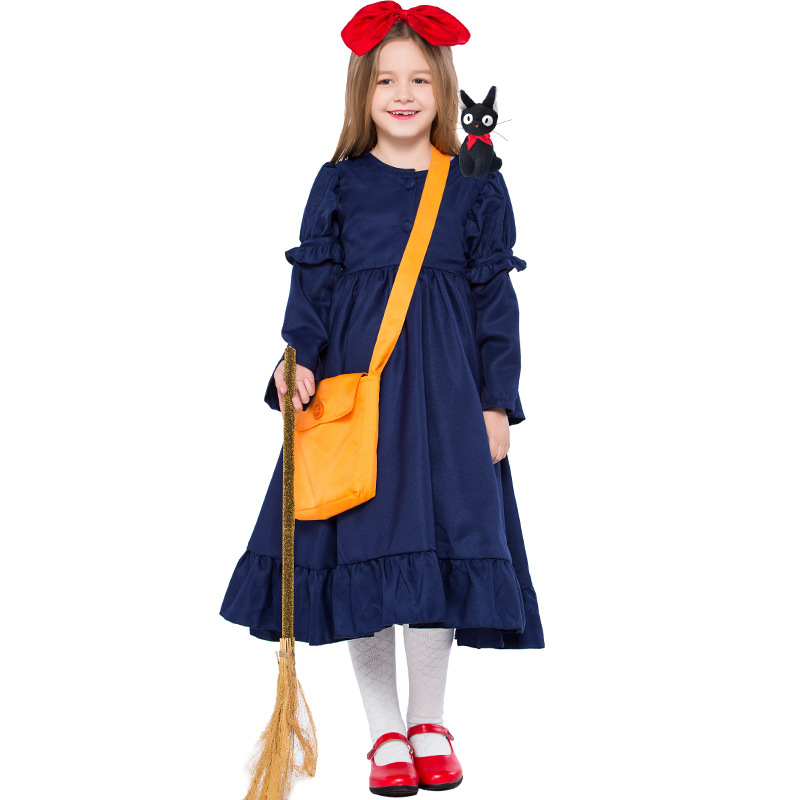 New Kiki's Delivery Service Cosplay Costume Dress+Headwear+backpack Cute girl dress For Halloween Carnival Full Set