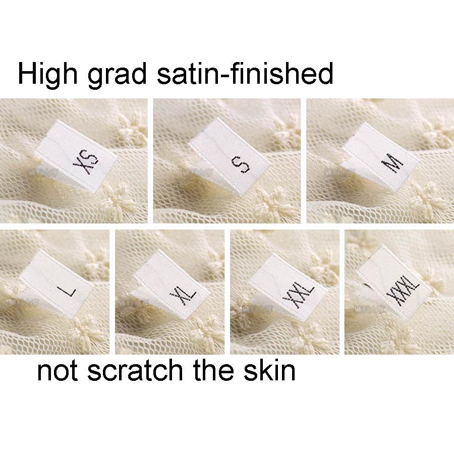 High Grade satin-finished White woven black size Label XS-XXXL 500pcs lot 0d018d40acc07