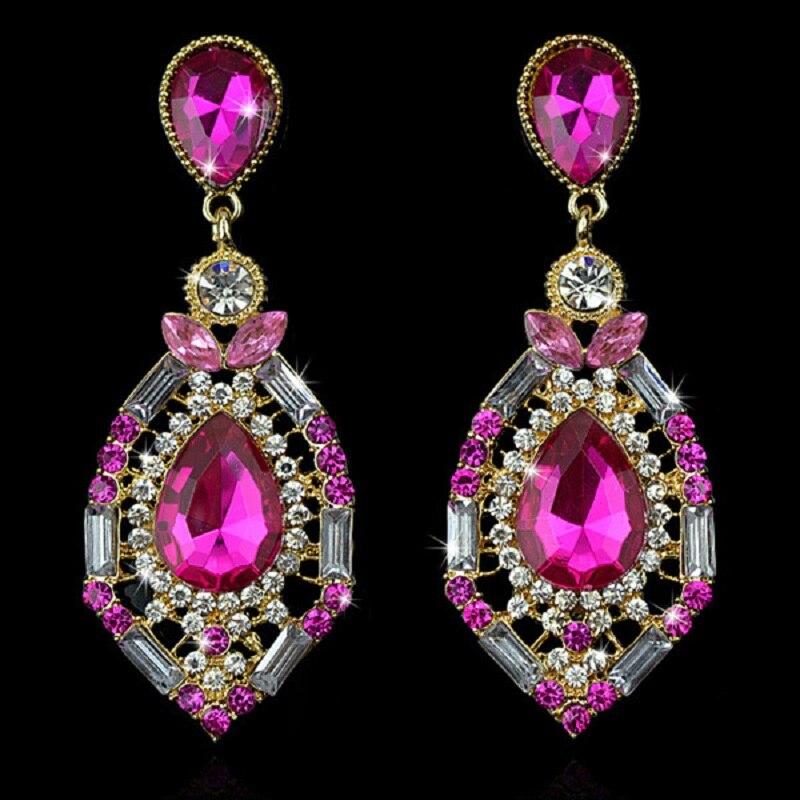 Vintage Wholesale Long Dangle Green Red Crystal Drop Big Earrings Bohemian Wedding Ethnic Earrings For Women Fashion Jewelry