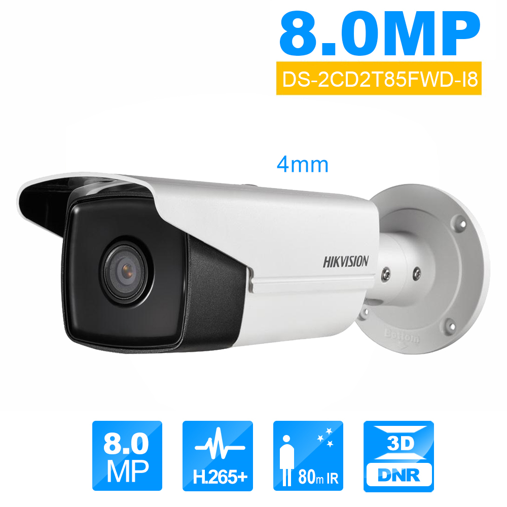 Hikvision DS-2CD2T85FWD-I8 Bullect Caméra 8MP POE Caméra de Sécurité Avec 80 m IR Gamme Mise À Niveau Version de DS-2CD2T85FWD-I5