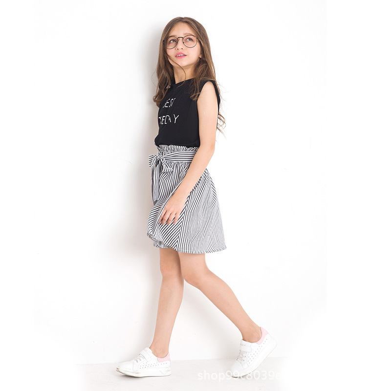 Girl Clothes Set for Summer Print Stripe Tops Skirt 2pcs Teenage Girl Clothing Fashion Summer Girls Suit for Teen 6 8 10 12 Y in Clothing Sets from Mother Kids