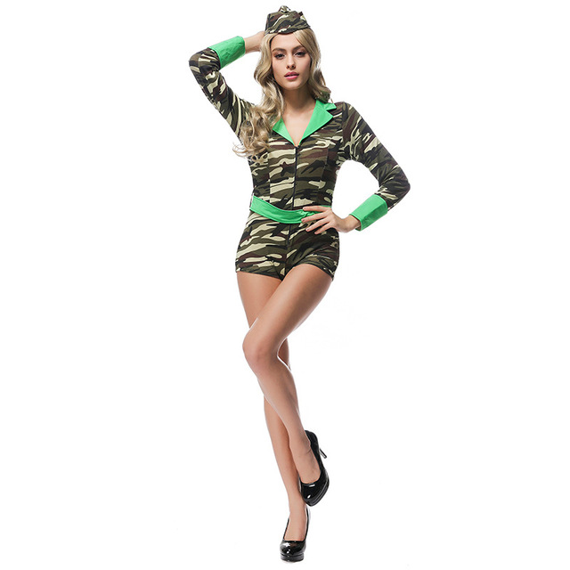 c32499843fe Fashion Women Camouflage Clothing Erotic Lingerie field Army instructors  Uniforms Halloween Sexy Cosplay Dress Costume