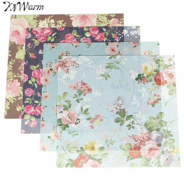 Aliexpress Buy Kiwarm 24 Sheets Beautiful Floral Folding Paper