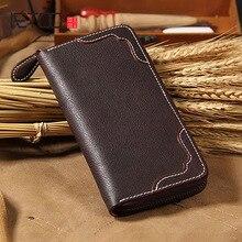 купить AETOO Handmade leather long wallet, zipper wallet, men's large-capacity hand bag, soft cowhide mobile phone bag по цене 2853.01 рублей