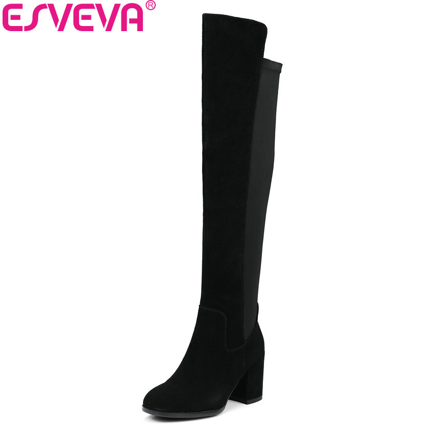 ESVEVA 2018 Women Boots Handmade Over The Knee Boots Cow Suede+PU Ladies Warm Fur Square High Heels Ladies Long Boots Size 34-39 i kua fly mtb cycling gloves half finger bike gloves shockproof breathable mountain sports bicycle gloves men guantes ciclismo 4