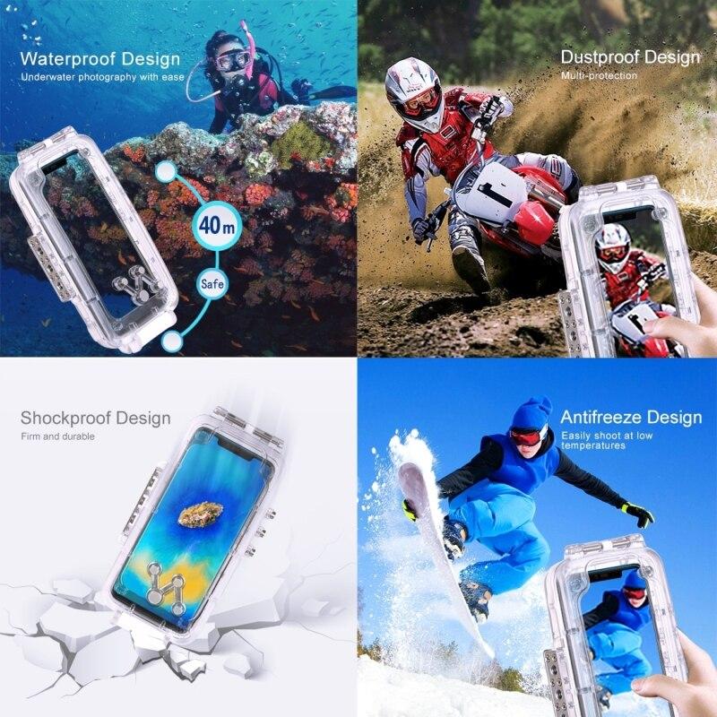 PULUZ voor Huawei Mate 20 Pro duiken waterproof case PC + ABS beschermhoes 40 meter waterdicht (kleur: transparant kleurloos) - 6