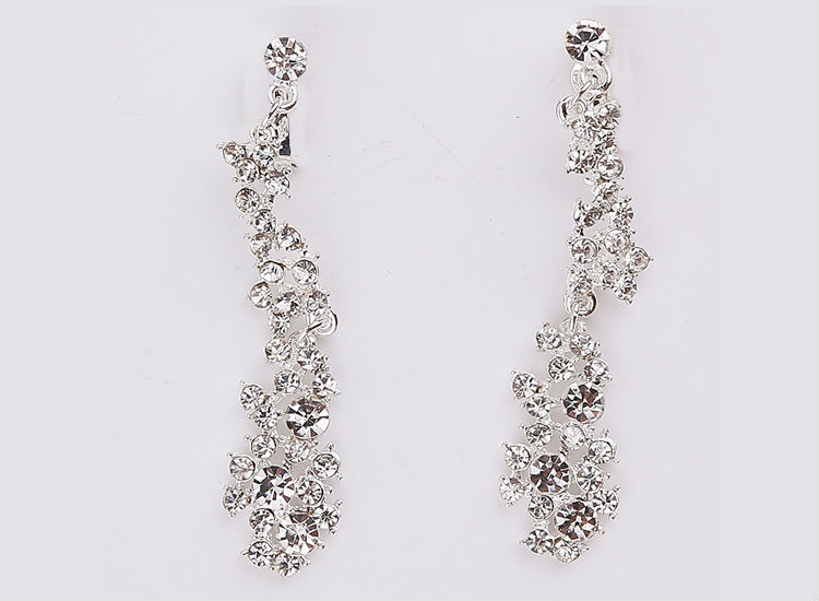 Silver Crystal Wedding Bridal Bridesmaid Jewelry Sets Alloy Necklace Earrings Crown Jewelrys For Women Hot Sale (3)