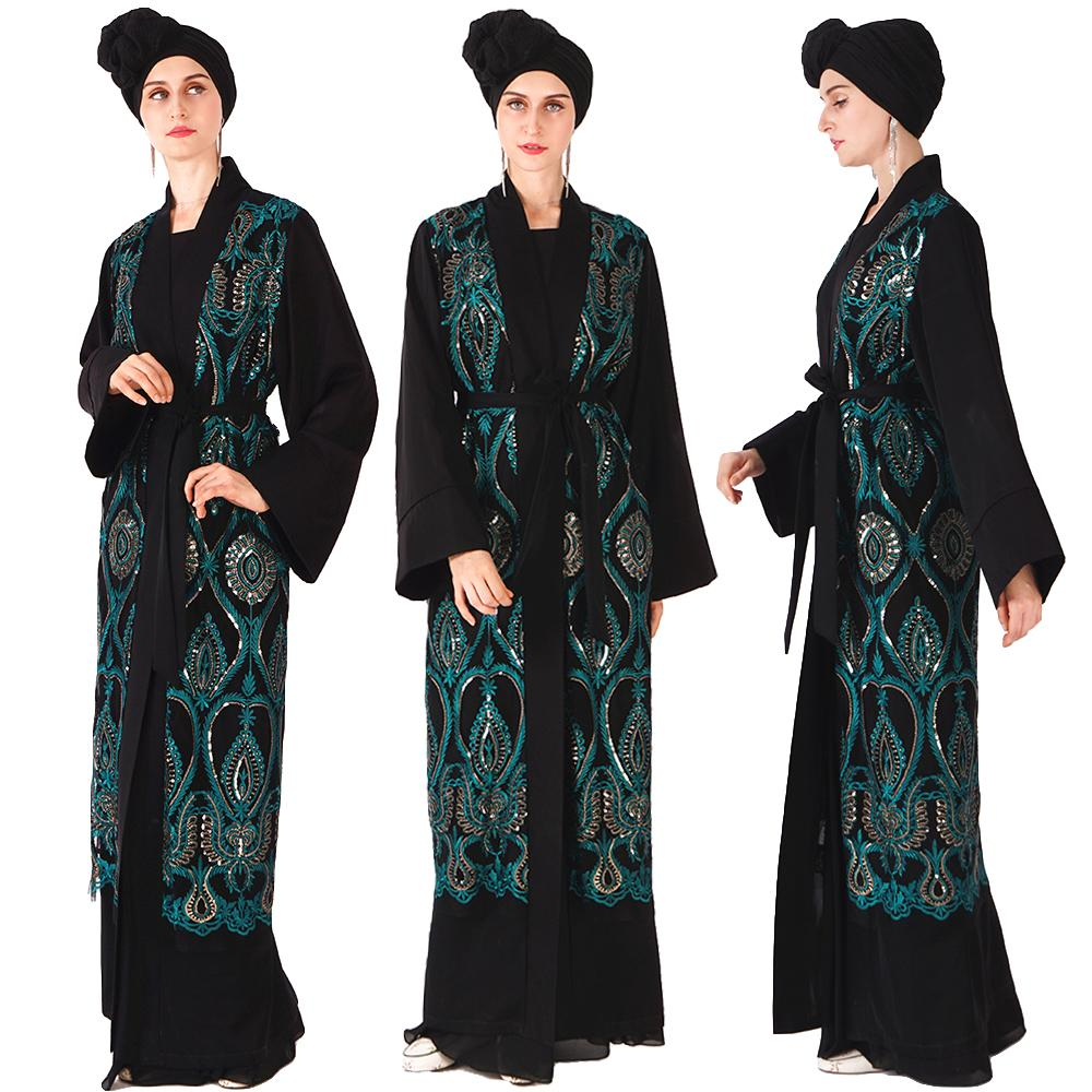 Luxury Muslim Sequins Abaya Embroidery Maxi Dress Cardigan Tunic Kimono Long Robes Jubah Middle East Ramadan Arab Islamic Prayer