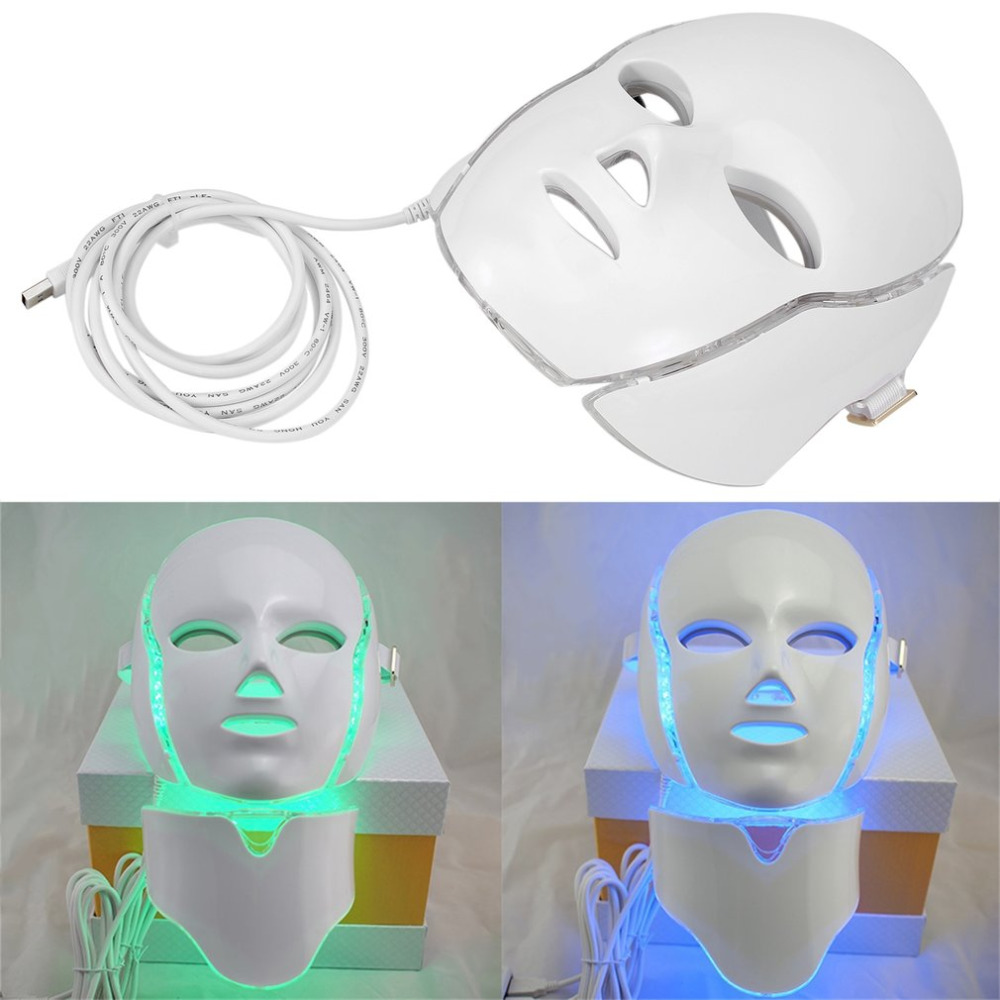 LED7Colors Light Microcurrent Facial Mask Beauty Instrument Therapy Skin Rejuvenation Facial Neck Mask Whitening Electric Device face care diy homemade fruit vegetable crystal collagen powder beauty facial mask maker machine for skin whitening hydrating us