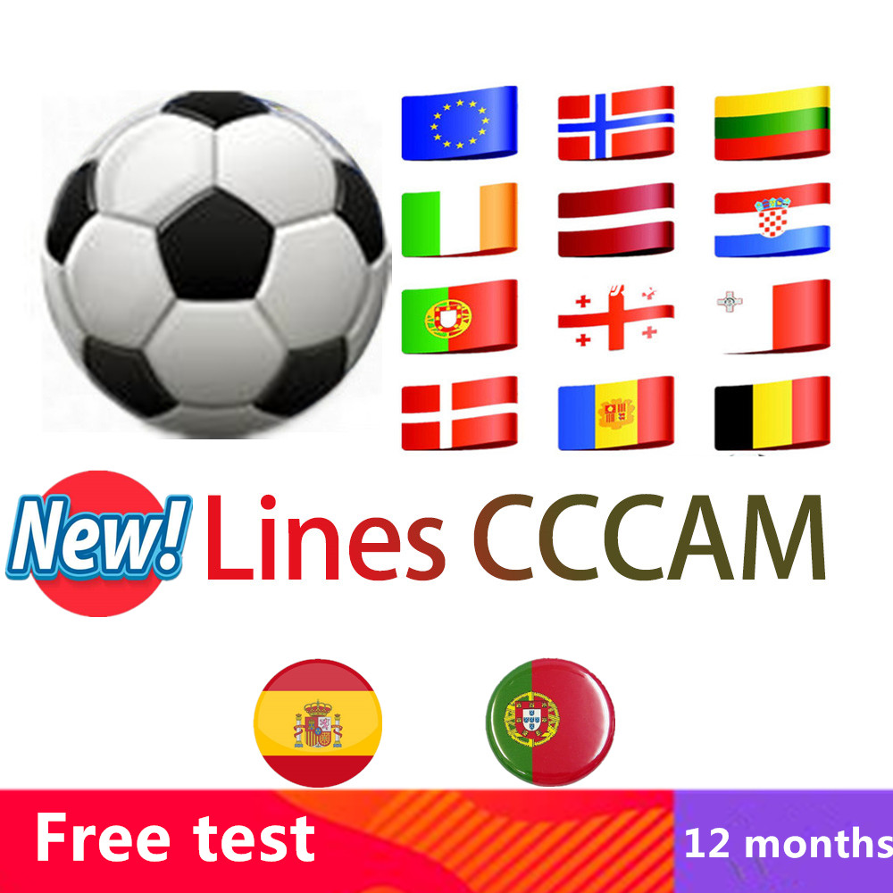 Europe HD Cable 12 Months CCCams For Satellite Tv Receiver 7 Clines WIFI FULL DVB-S2 Support Spain 7 Cline Ccam Serverl 4k