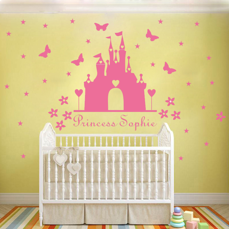 W340 Princess castle WALL sticker with personalised name kids room ...