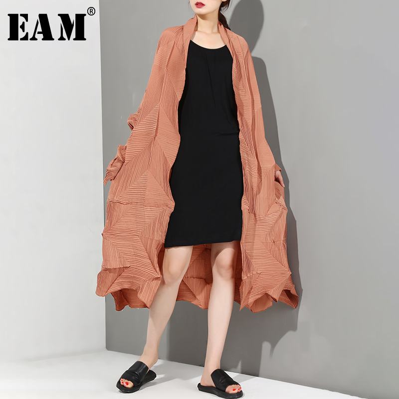EAM 2019 New Spring Summer V collar Long Sleeve Khaki Pleated Fold Split Joint Big