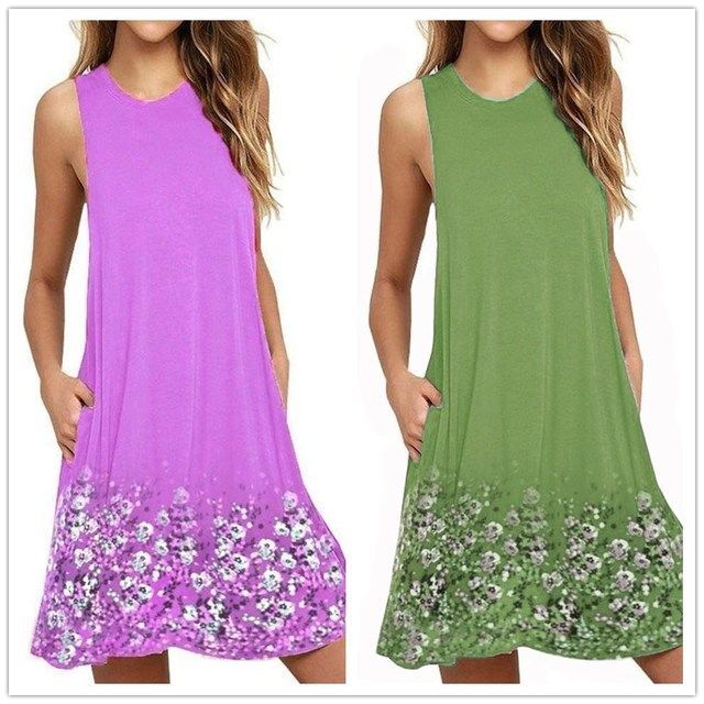 Plus Size Women Dress Summer Casual O-Neck Sleeveless Print Beach Dress Women Tank Dress Vestido Female Loose Dress 4XL 5XL 6XL 1