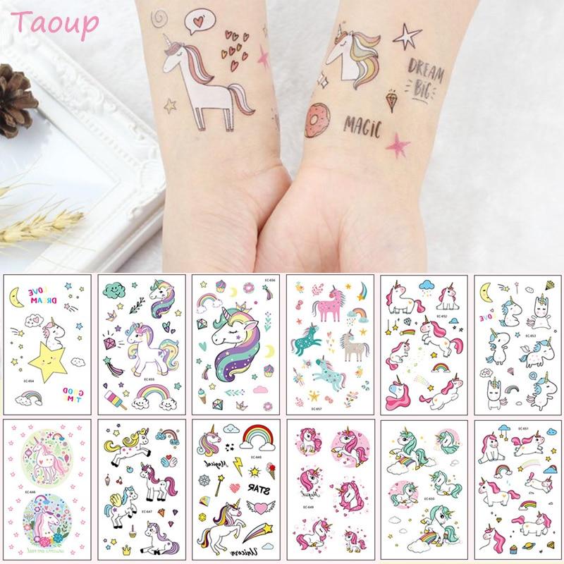 TAOUP, 5 unidades, tatuaje desechable, pegatina con figura de Unicornio, feliz cumpleaños, decoración de Unicornio, fiesta de bienvenida al bebé, niña, Unicornio, cumpleaños, Decoraciones de fiesta, niños