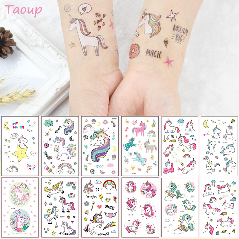 TAOUP 5pc Disposable Tattoo Unicorn Sticker Happy Birthday Unicorn Decor Baby Shower Girl Unicornio Birthday Party Decors Kids