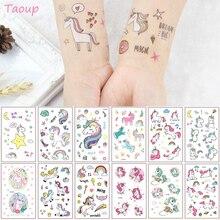 TAOUP 5pc Disposable Tattoo Unicorn Sticker Happy Birthday Decor Baby Shower Girl Unicornio Party Decors Kids