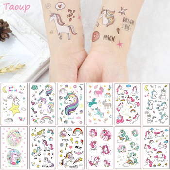 TAOUP 5pc Disposable Tattoo Unicorn Sticker Happy Birthday Decor Baby Shower Girl Unicornio Party Decors Kids - discount item  40% OFF Festive & Party Supplies