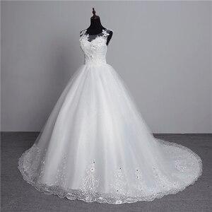 Image 3 - Foto real nova moda vestido de noiva 2020 grande trem o neck plus size vestidos de casamento tule voltar sexy vestidos de noiva doce flor