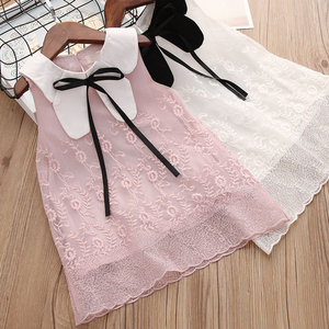 Girls Princess Dress Sleeveless Summer Lace Dress For Kids Girl's Flower Dress With Bow Pink/White For 2-6 Years Old Child