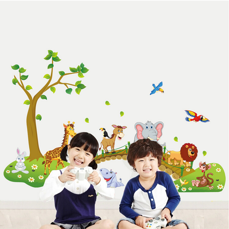 Jungle Wild Animal Tree Bridge 3D Cartoon Wall Stickers Home Kids Room Decor Hot Wall Decals & Stickers