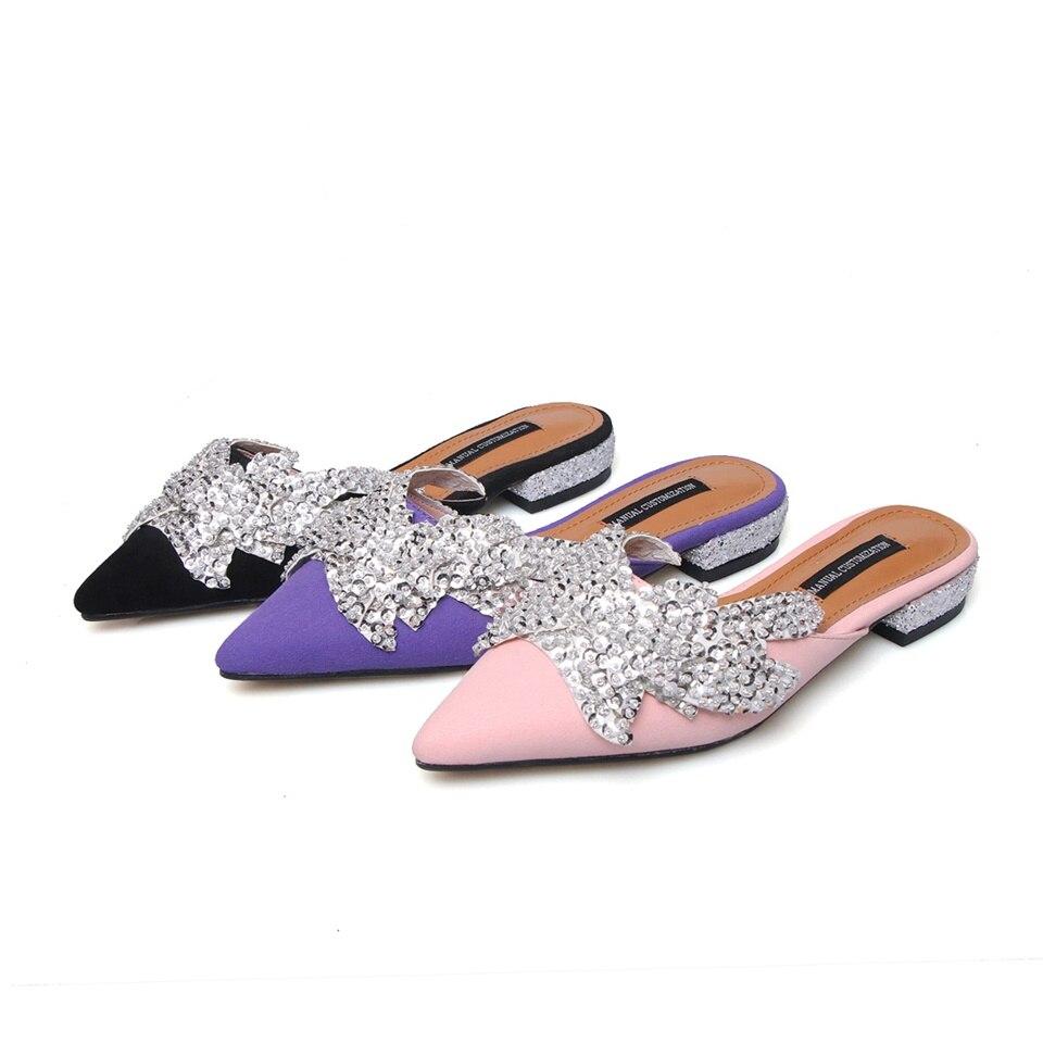2019 été mode chaussons pour femmes chaussures magnifiquement décoré bout pointu confortable intérieur femme pantoufles taille 33-43