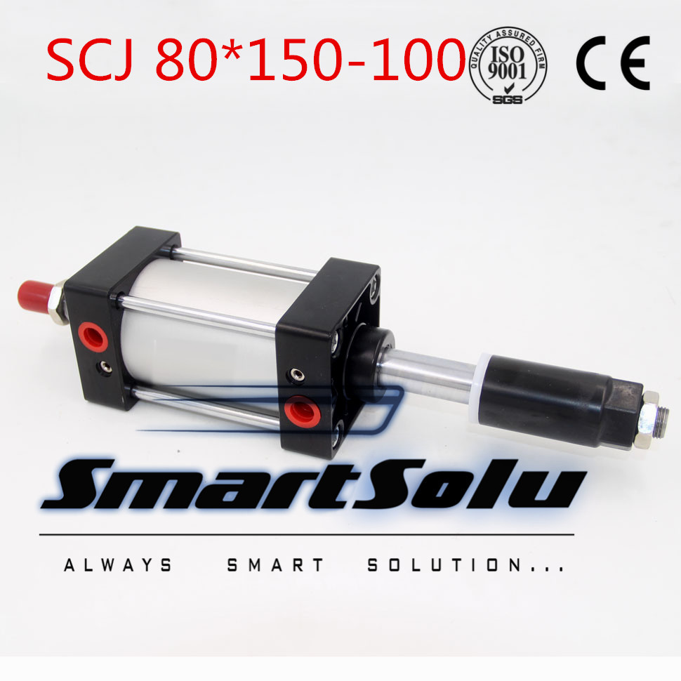 Free Shipping Airtac type Standard air cylinder single rod 80mm bore 150mm stroke SCJ80x150-100 100mm adjustable stroke cylinder su63 100 s airtac air cylinder pneumatic component air tools su series